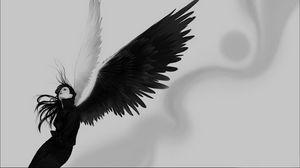 Превью обои ангел, крылья, белое, черное, девушка