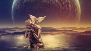 Превью обои ангел, крылья, птица, вода