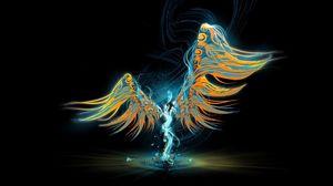 Превью обои ангел, крылья, свет, рисунок, узоры