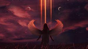 Превью обои ангел, луна, иллюзия, ночь, арт