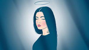 Превью обои ангел, нимб, татуировка, губы, мечта, спокойствие
