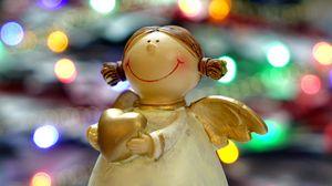 Превью обои ангел, рождество, блики, статуэтка