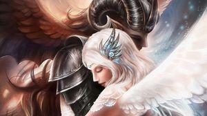 Превью обои ангелы, объятия, нежность, забота