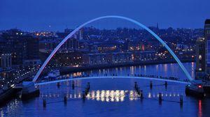 Превью обои англия, мост тысячелетия, ньюкасл, ранний зимний вечер