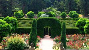 Превью обои англия, парк, сад, арка, лабиринт