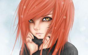Превью обои аниме, девушка, арт, глаза, кошка