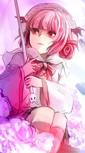 Превью обои аниме, девушка, арт, зонт, цветы, розовый