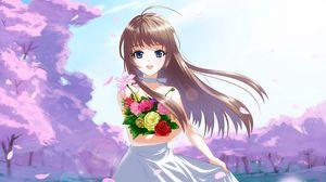Превью обои аниме, девушка, брюнетка, цветы, букет