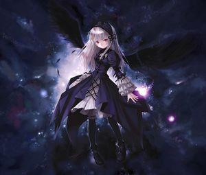Превью обои аниме, девушка, крылья, полет