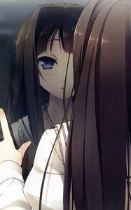 Превью обои аниме, девушка, окно, отражение, капли, дождь, взгляд