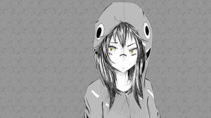 Превью обои аниме, девушка, рисунок, шапка, чб