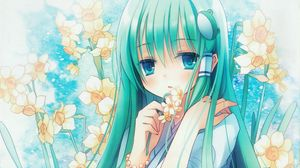 Превью обои аниме, девушка, волосы, длинные, цветок, нарцисс