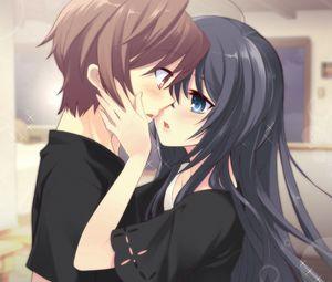 Превью обои аниме, парень, девушка, нежность, поцелуй