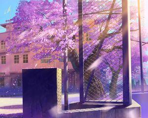 Превью обои аниме, школа, зима, улица