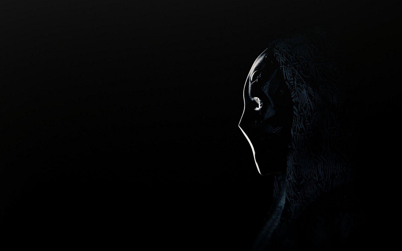 1440x900 Обои аноним, маска, профиль, темный