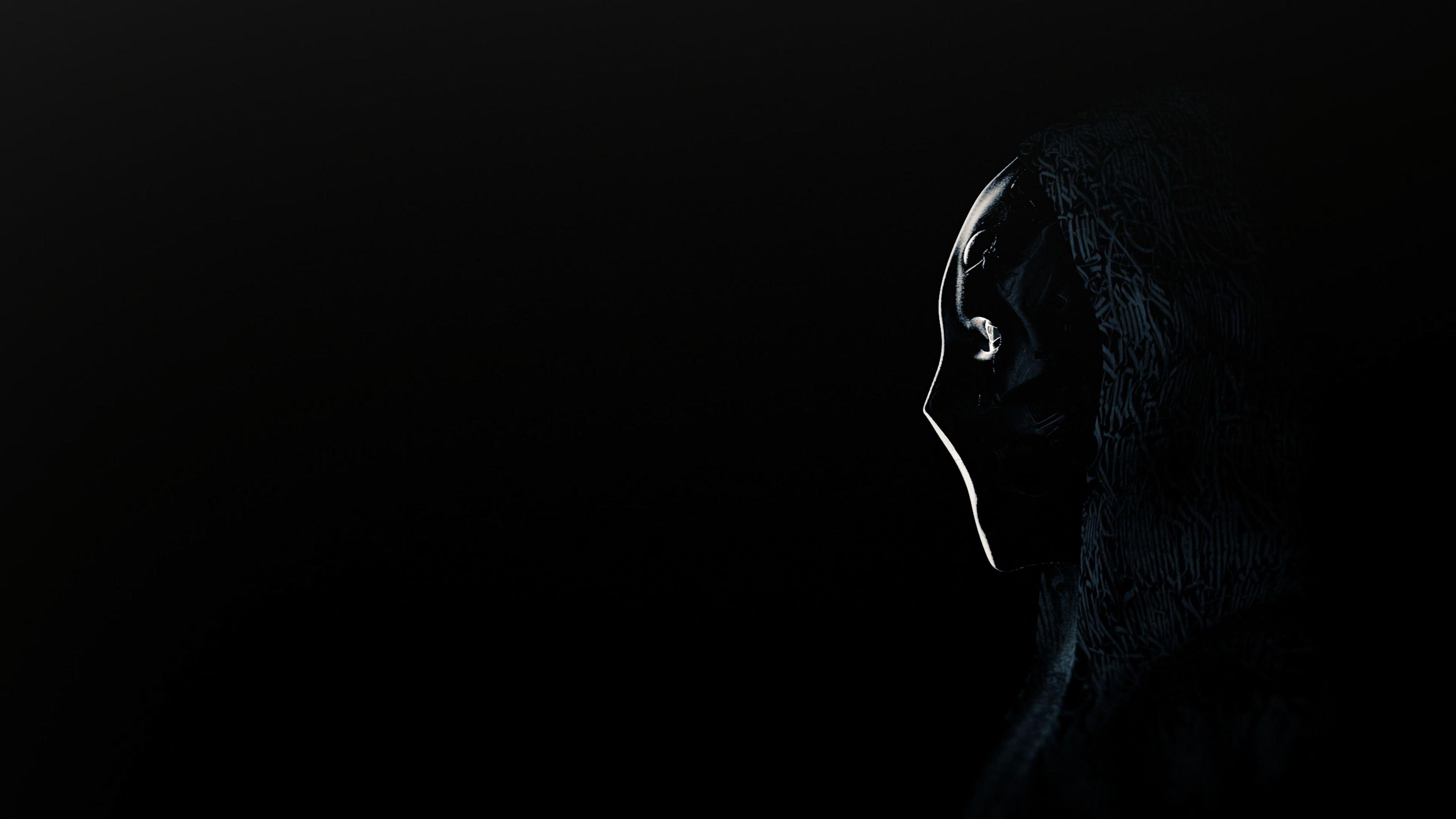 3840x2160 Обои аноним, маска, профиль, темный
