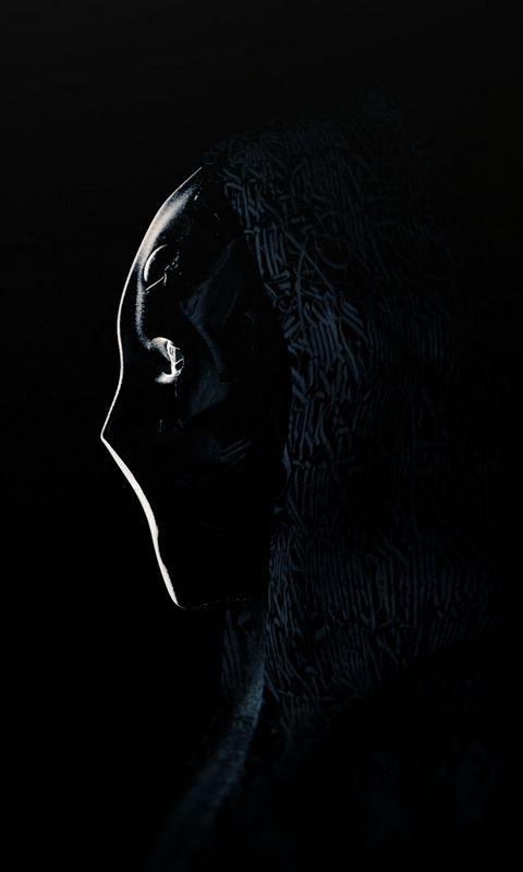 480x800 Обои аноним, маска, профиль, темный