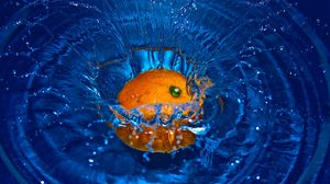 Превью обои апельсин, брызги, вода, фрукт, цитрус