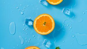 Превью обои апельсин, лед, мята, цитрус, кольца, тающий