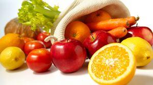 Превью обои апельсин, яблоки, лимон, помидор, морковь