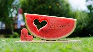 Превью обои арбуз, фрукт, сердце