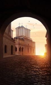 Превью обои арка, храм, солнце, свет, темный