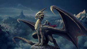 Превью обои арт, nick deligaris, дракон, всадник, горы, замок, башня