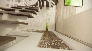 Превью обои арт, рендер, лестница, растение, комната, ступеньки, декор