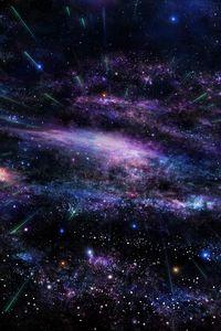 Превью обои арт, звёзды, дерево, небо, пространство
