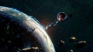Превью обои астероид, метеорит, космос, падение