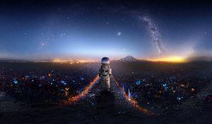 Превью обои астронавт, космонавт, арт, космос, звезды, галактика