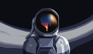 Превью обои астронавт, скафандр, отражение, закат, арт