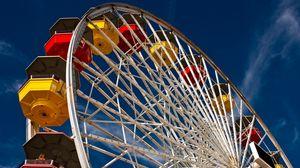Превью обои аттракцион, небо, город, колесо