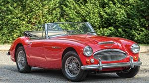 Превью обои austin healey, 3000, bj8, roadster, 1966, кабриолет, красный