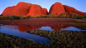 Превью обои австралия, каньоны, трава, земля, вода