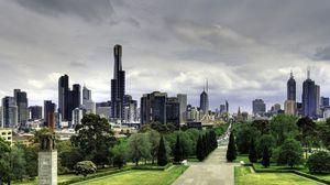 Превью обои австралия, мельбурн, небоскребы, природа, парк, красиво, прогулка, здания