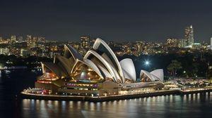 Превью обои австралия, вечер, опера, театр, река, достопримечательность