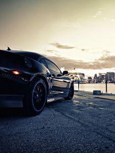 Превью обои авто, черный, стиль, улица