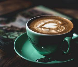 Превью обои кофе, капучино, чашка, узор