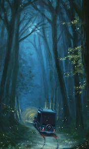 Превью обои автомобиль, дорожка, лес, деревья, арт