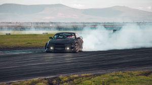 Превью обои автомобиль, дрифт, дым, экстрим