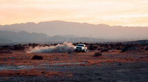 Превью обои автомобиль, дрифт, пыль, пустыня