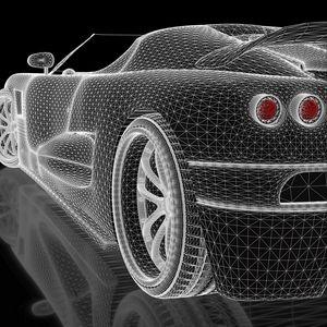 Превью обои автомобиль, концепт, трехмерный, сетка