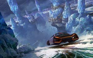 Превью обои автомобиль, ледники, sci-fi, скорость