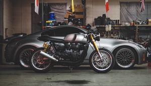 Превью обои автомобиль, мотоцикл, гараж