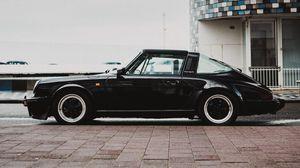 Превью обои автомобиль, ретро, черный