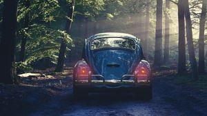 Превью обои автомобиль, ретро, лес, туман