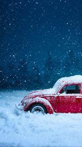 Превью обои автомобиль, ретро, зима, снег, снегопад, винтаж, красный, старый