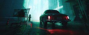 Превью обои автомобиль, улица, фонари, свет, темный