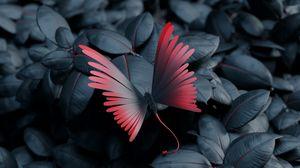 Превью обои бабочка, листья, крылья, контраст